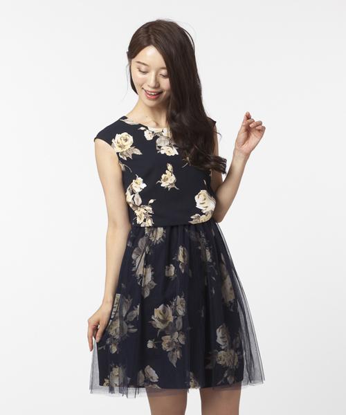 2860053788e40 Rose Tiara(ローズティアラ)の「チュールスカートで2WAYに☆二重織ローズプリントワンピース(ドレス)」 - WEAR