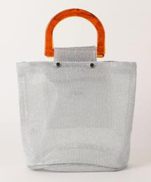 <casselini> メタリックチュール ハンドルトートバッグ