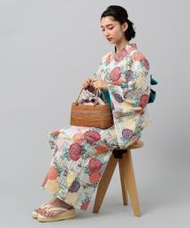<三勝> 菊/竹 綿紅梅 浴衣