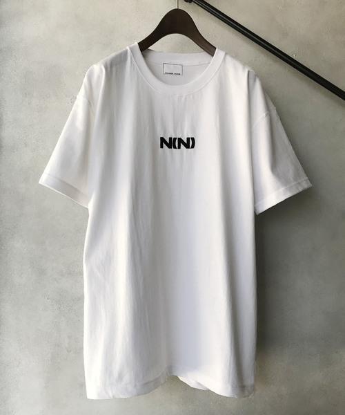 【NUMBER (N)INE】 별주품 헤비 웨이트 빅 실루엣 N(N) 로고 자수 크루 넥 T셔츠
