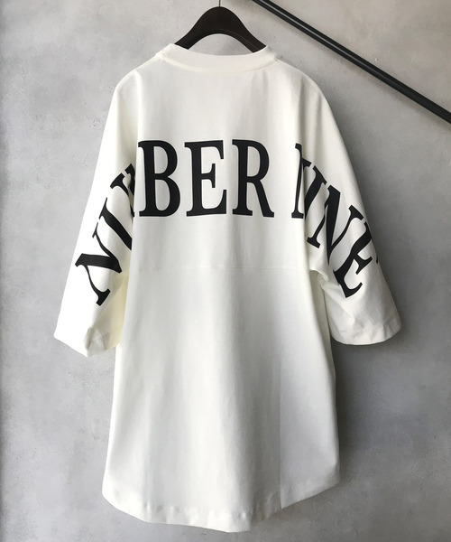 【NUMBER (N)INE】 별주품 빅 실루엣 로고 백 프린트 하프 슬리브 크루 넥 T셔츠