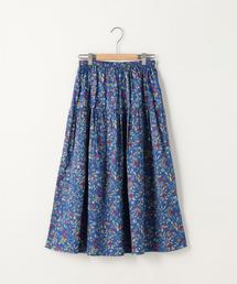 コットンサテン小花柄ロングフレアスカート(フラワープリントスカート)