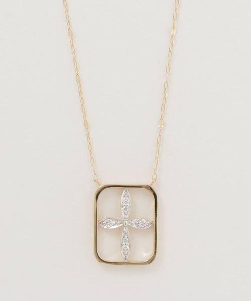 cea0964b4e ete bijoux(エテビジュー)の「K18YG ダイヤモンド ネックレス「ソレイユ」スクエア(ネックレス)」 - WEAR