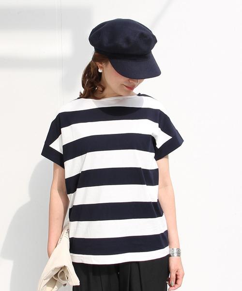 【WEB限定・復刻・人気】ワイドボーダーボートネックTシャツ