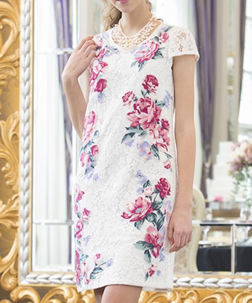 f3f9c590ad174 Rose Tiara(ローズティアラ)の「フラワー刺繍アップリケレースワンピース(ドレス)」 - WEAR