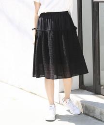 【セットアップ対応】スクエアレースサイドリボンフレアスカート