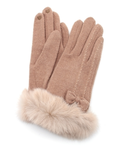 14647ee38c55a8 grove(グローブ)の「◇ラビットファー付きリボングローブ(手袋)」 - WEAR