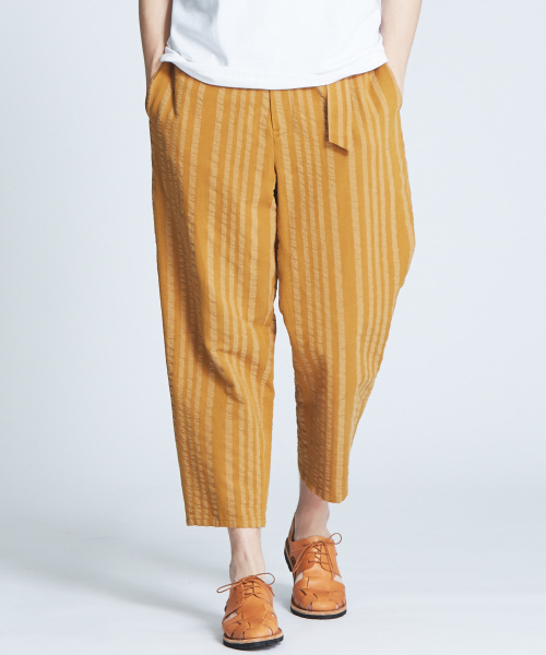 セール】綿麻ストライプベルト付きバルーンパンツ(パンツ) パンツ ...