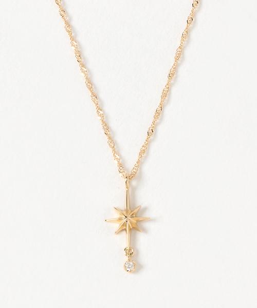 0e7044c3f6 ete bijoux(エテビジュー)の「○K18YG ダイヤモンド ネックレス「エメ」スター(ネックレス)」 - WEAR
