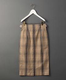<6(ROKU)>COTTON LINEN CHECK TIGHT SKIRT/スカート