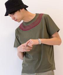 サガラ刺繍クルーネックTシャツ