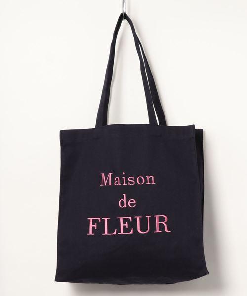 [Maison de FLEUR 메종드플뢰르] 재입하! 브랜드 로고 자수 토트백