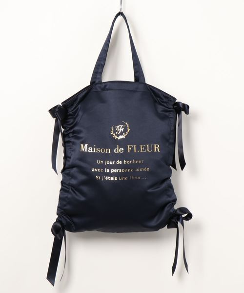[Maison de FLEUR 메종드플뢰르] ・개더 리본 토트백