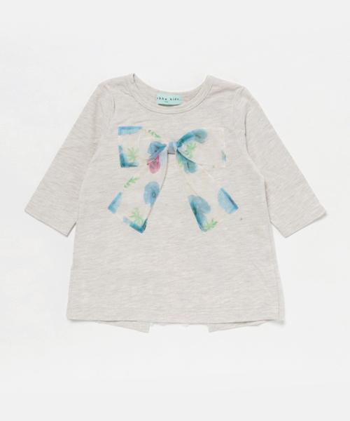 102ddc0783f5d HAKKA KIDS(ハッカキッズ)の「ポピープリントチュールリボン付7分袖チュニック(Tシャツ・カットソー)」 - WEAR