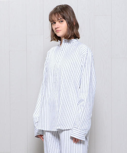 <MAGEE>STRIPE GRANDPA NIGHT SHIRT/シャツ.