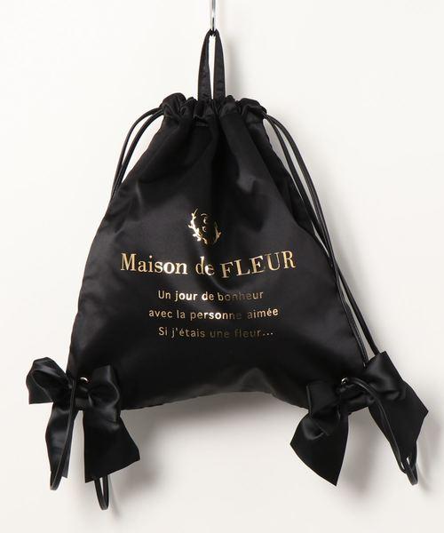 [Maison de FLEUR 메종드플뢰르] 새틴 리본 백 팩