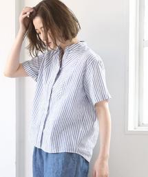 綿麻ストライプバンドカラーシャツブラウス