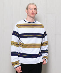 <H>BORDER LONG SLEEVE CREW NECK PULLOVER/プルオーバー