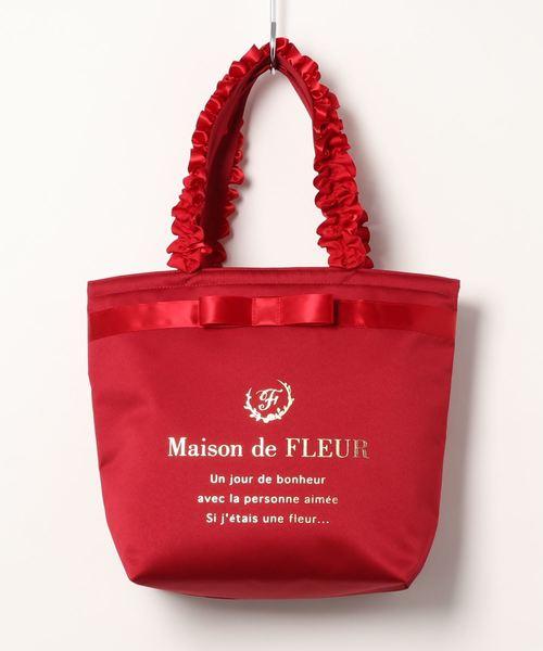 [Maison de FLEUR 메종드플뢰르] 브랜드 로고 프릴 토트M백Red