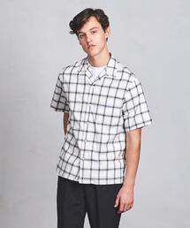 UAST チェック オープンカラー シャツ