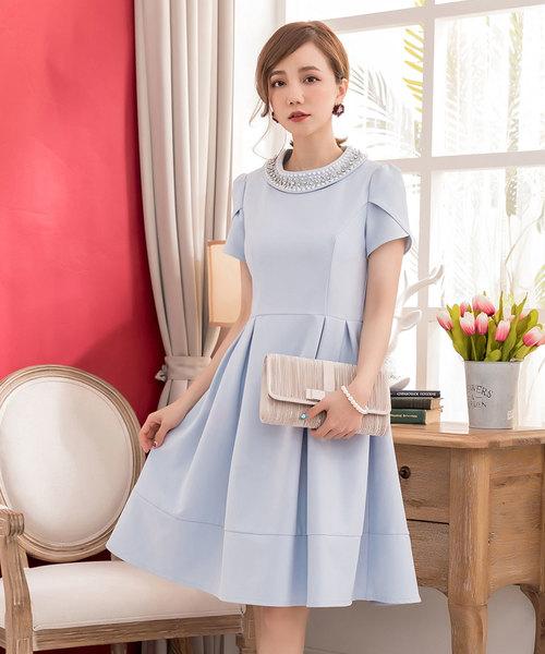 ed12166496d23 DRESS STAR(ドレス スター)の「ビジューネックデザインペタル(チューリップ)スリーブAラインワンピース(ドレス)」 - WEAR