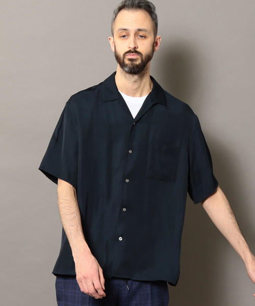 BY レーヨンツイル オープンカラー シャツ
