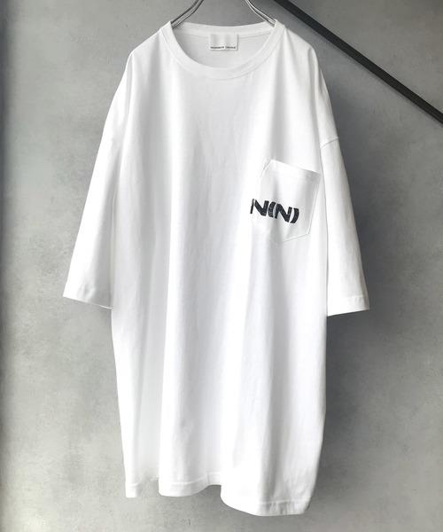 【NUMBER (N)INE】 별주품 N(N) 로고 핸드 프린트 빅 실루엣 포켓 크루 넥 T셔츠