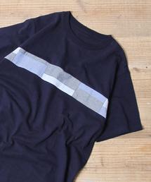 布帛パッチワーク切り替えTシャツ