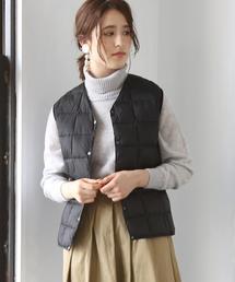 【WOMENS】 TAION ( タイオン ) Vネックダウンベスト