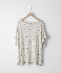 フレンチリネンドットプリントフリルスリーブTシャツ