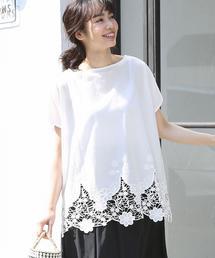 裾レースコンビボートネックTシャツ(ブラック→WEB限定カラー)