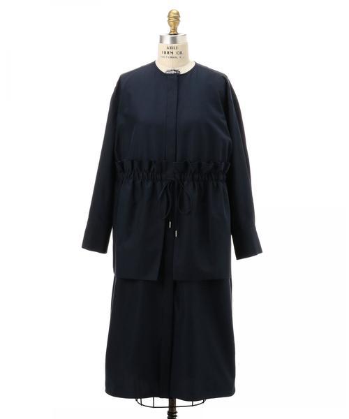 Drawer ノーカラー ギャザードレス