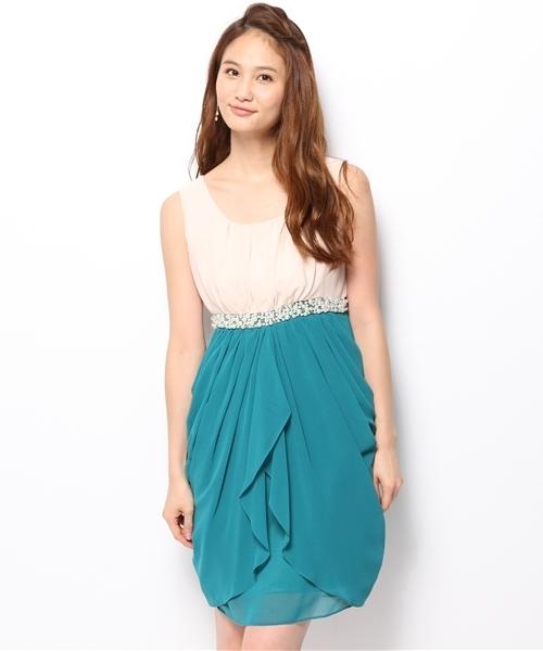 64ec9695bc855 Jines(ジネス)の「配色ウエストビジュー コクーンドレス 結婚式 ワンピース (ドレス)」 - WEAR