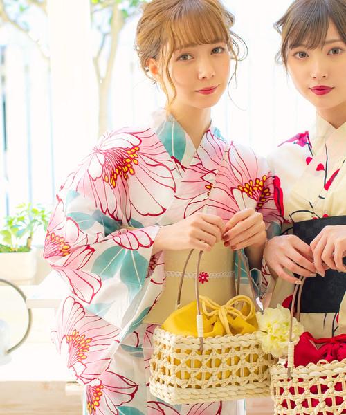 유가따자를 돋보이게 한다♪여름다운 옥수수 소재의 바구니 백 건착 유카타 2019 레이디스 백 레트로 유가따 일본옷 모던 미인 귀엽 바구니 유카타 레이디스 세트 바구니 백