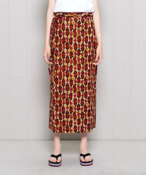 <KANGA>AFRICAN BATIK WRAP SKIRT/スカート.