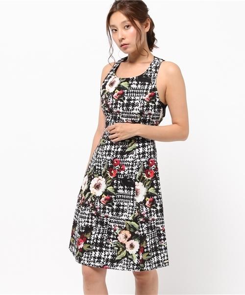 ea388b165d3e4 Narcissus(ナルシス)の「 TEDDY フラワー×千鳥柄ドレス(ドレス)」 - WEAR