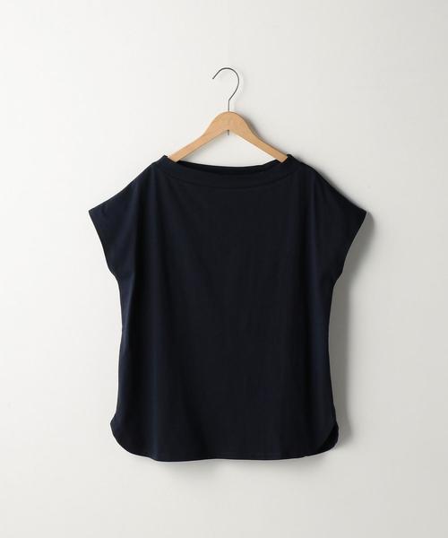 オーガニックコットンスタンドボートネックTシャツ