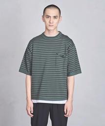 UAST ニット ボーダー ビッグ Tシャツ