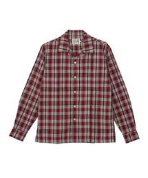 DAMNED刺繍 長袖オープンカラーシャツ