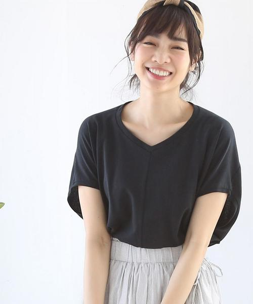 【新色追加・接触冷感】梨地変形Vネックカットソー