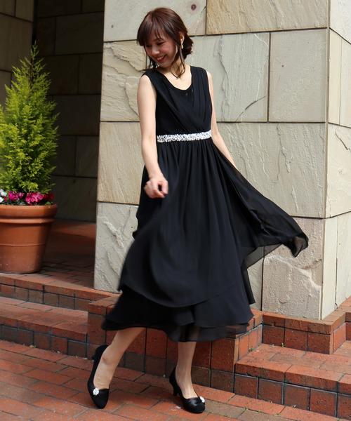0352edc3032c7 MARLENE JOBERT(マルレーヌ ジョベル)の「結婚式お呼ばれロング丈ドレープ素敵なワンピース(ドレス)」 - WEAR
