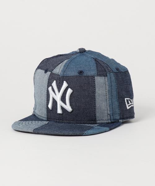 164d01c180ff2 「ニューエラ キッズ キャップ 59FIFTY デニム パッチワーク MLB ニューヨークヤンキース ネイビー NEW ERA KIDS」
