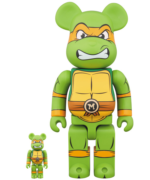 Medicom BE@RBRICK Teenage Mutant Ninja Turtles Michelangelo 100/% 400/% Bearbrick Set Figure