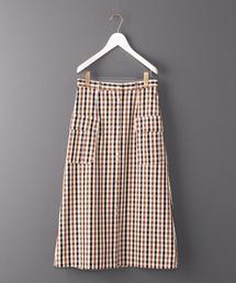 <6(ROKU)>CHECK OVER SKIRT/スカート