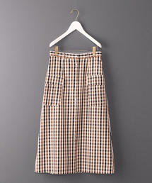 <6(ROKU)>CHECK OVER SKIRT/スカート