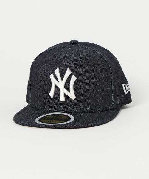 84dffffedf273 「ニューエラ キッズ キャップ 59FIFTY ヘリンボーンデニム MLB ニューヨークヤンキース NEW ERA KIDS」