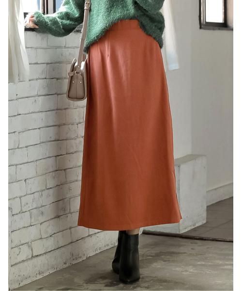 Re:EDIT(リエディ)の「ベイクドカラーピーチスキン台形スカート(スカート)」|レンガ