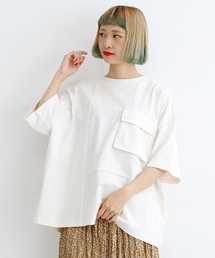 merlot(メルロー)のパッチワークリングスナップボタンポケットTシャツ3190(Tシャツ/カットソー)