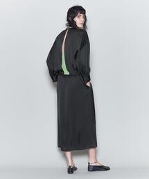 <6(ROKU)>SATIN BACK SLIT DRESS/ワンピース