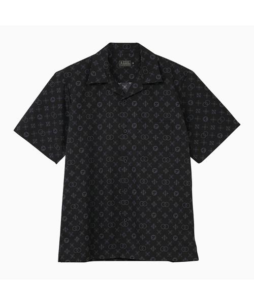 MONOGRAM柄 オープンカラーシャツ